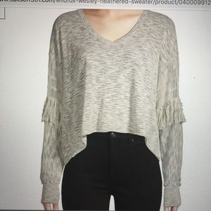 WildFox Pullover V-Neck w/Fringed Sleeves